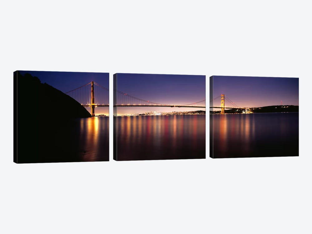 Suspension bridge lit up at dusk, Golden Gate Bridge, San Francisco Bay, San Francisco, California, USA #3 3-piece Canvas Art Print