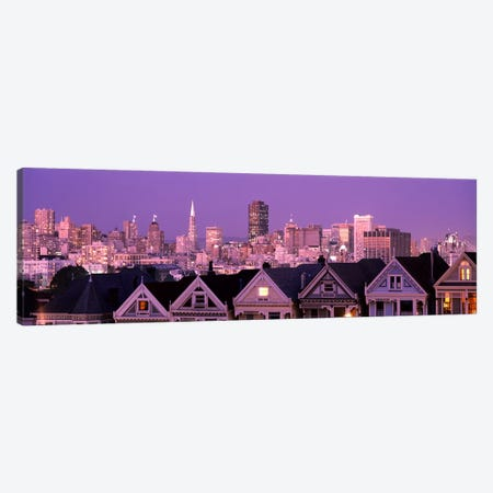 Skyscrapers lit up at night in a city, San Francisco, California, USA Canvas Print #PIM7588} by Panoramic Images Canvas Art