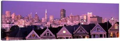 Skyscrapers lit up at night in a city, San Francisco, California, USA Canvas Print #PIM7588