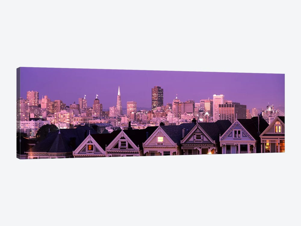 Skyscrapers lit up at night in a city, San Francisco, California, USA by Panoramic Images 1-piece Canvas Art