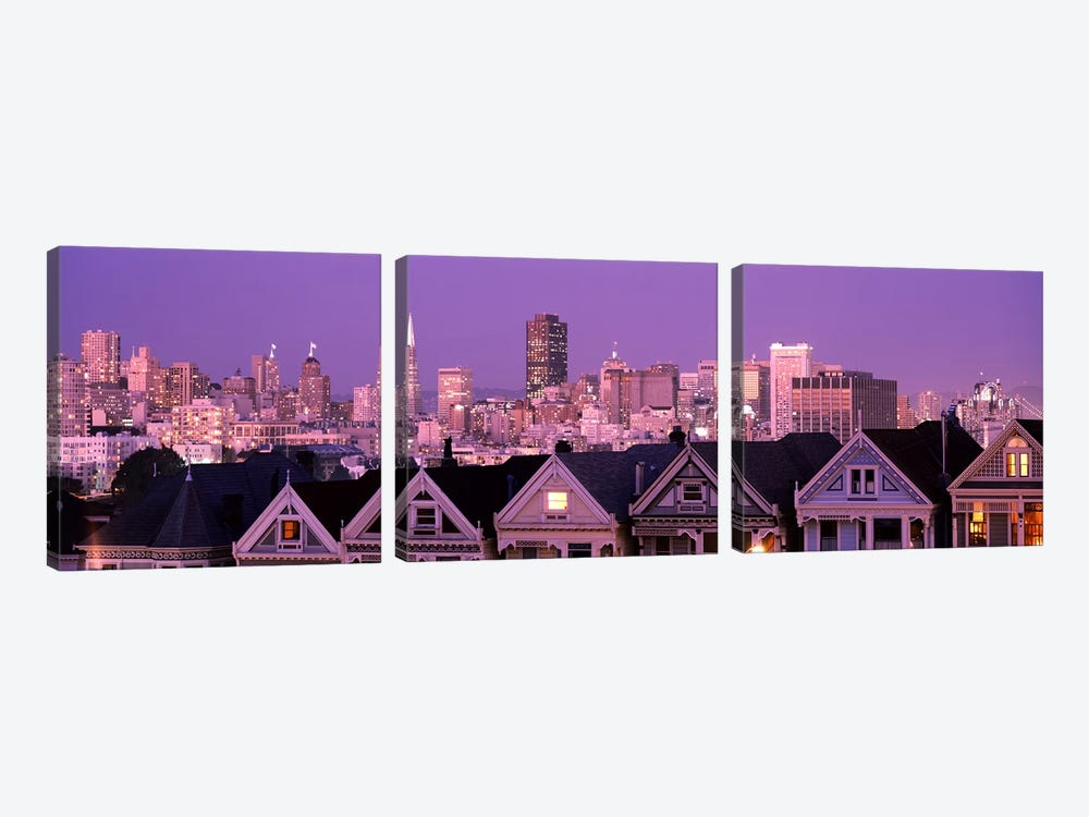 Skyscrapers lit up at night in a city, San Francisco, California, USA by Panoramic Images 3-piece Canvas Art