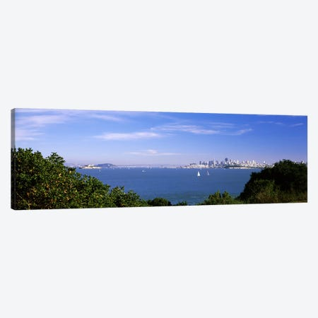 Sea with the Bay Bridge and Alcatraz Island in the background, San Francisco, Marin County, California, USA Canvas Print #PIM7590} by Panoramic Images Art Print