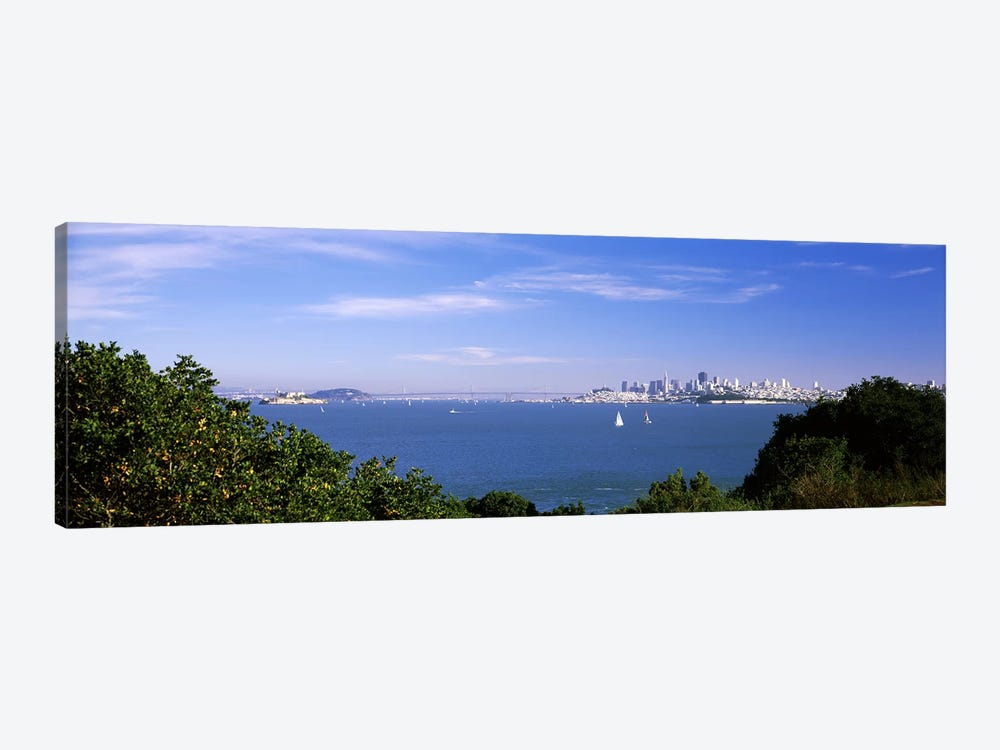 Sea with the Bay Bridge and Alcatraz Island in the background, San Francisco, Marin County, California, USA by Panoramic Images 1-piece Canvas Print