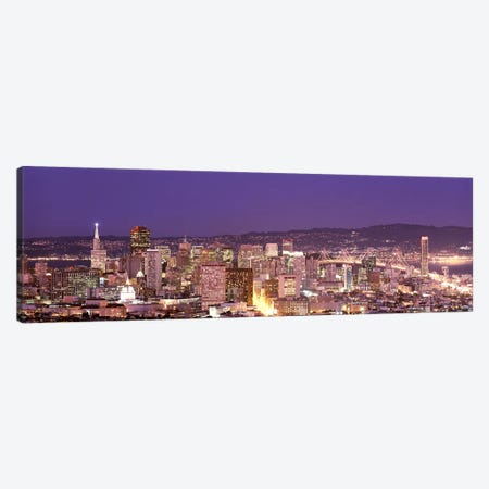 High angle view of a city at dusk, San Francisco, California, USA Canvas Print #PIM7591} by Panoramic Images Canvas Print