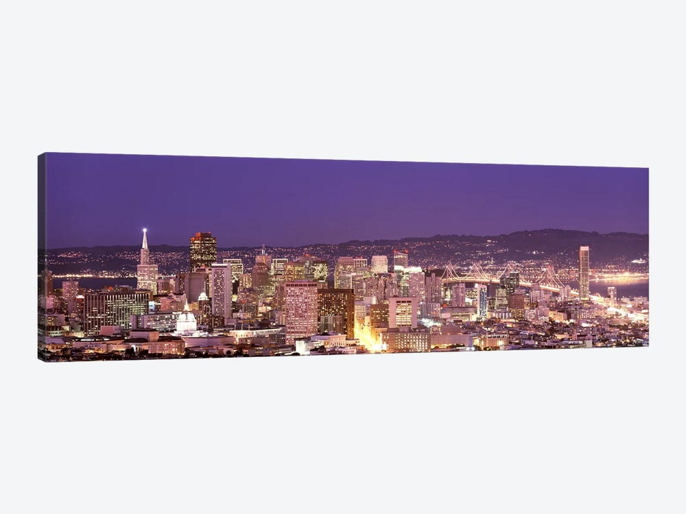 High angle view of a city at dusk, San Francisco, California, USA by Panoramic Images 1-piece Canvas Artwork