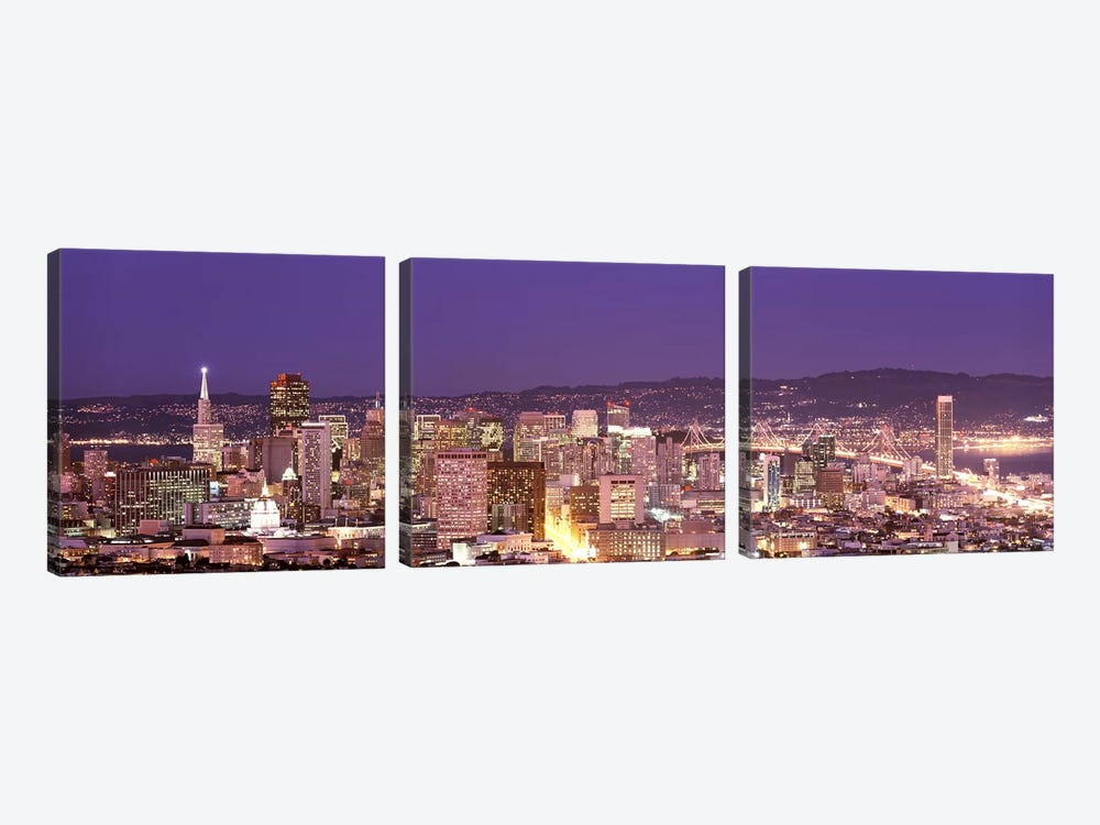 High angle view of a city at dusk, San Francisco, California, USA by Panoramic Images 3-piece Canvas Wall Art