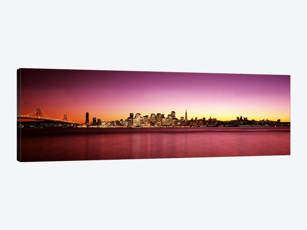 Buildings at the waterfront, Bay Bridge, San Francisco Bay, San Francisco, California, USA by Panoramic Images 1-piece Canvas Wall Art