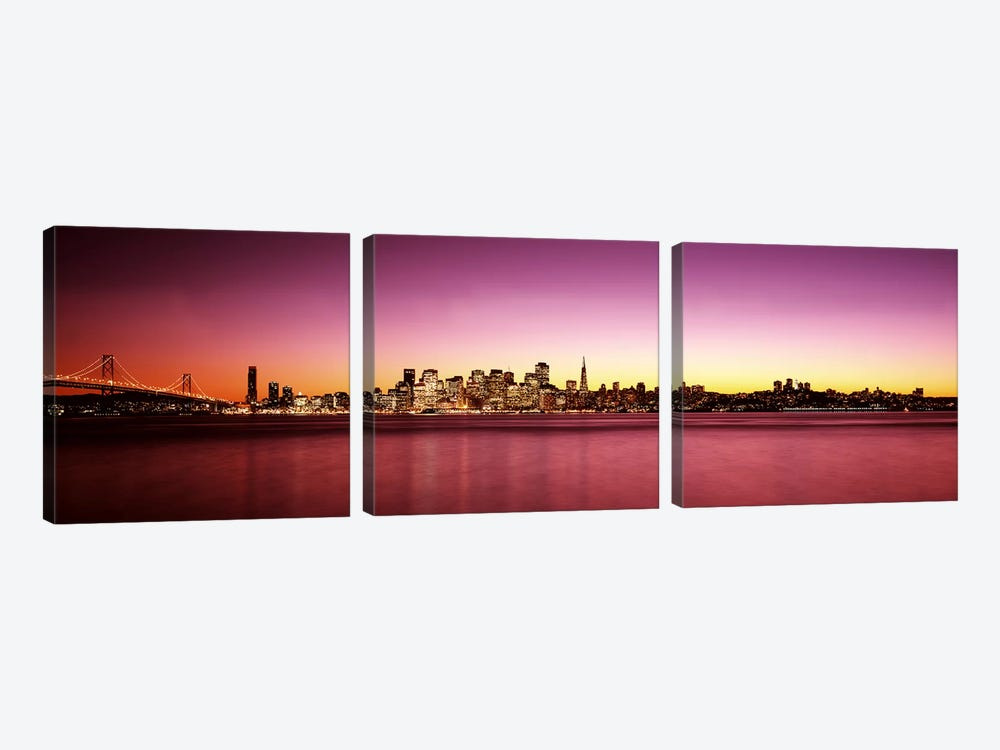 Buildings at the waterfront, Bay Bridge, San Francisco Bay, San Francisco, California, USA by Panoramic Images 3-piece Canvas Artwork