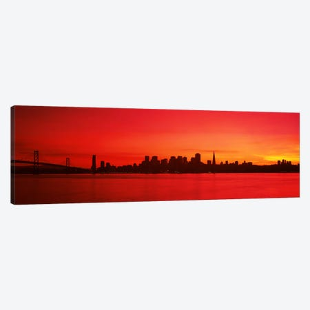 Buildings at the waterfront, Bay Bridge, San Francisco Bay, San Francisco, California, USA #2 Canvas Print #PIM7594} by Panoramic Images Canvas Art
