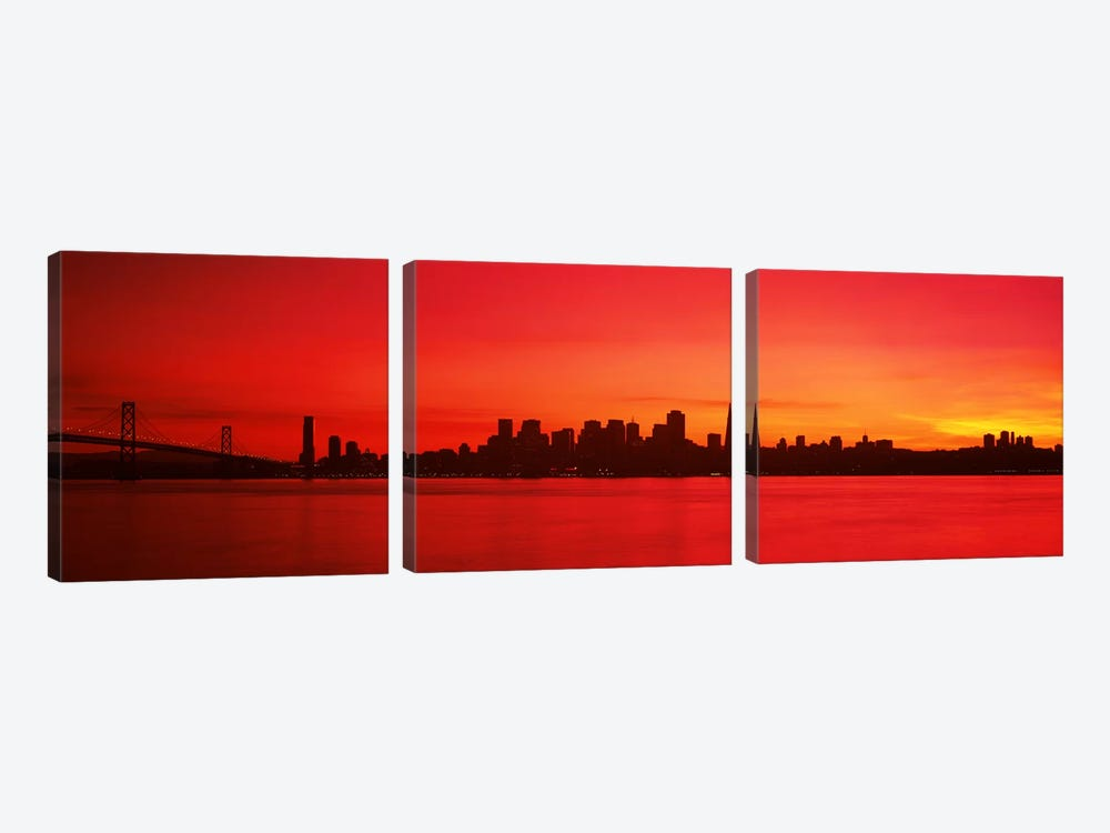 Buildings at the waterfront, Bay Bridge, San Francisco Bay, San Francisco, California, USA #2 3-piece Art Print