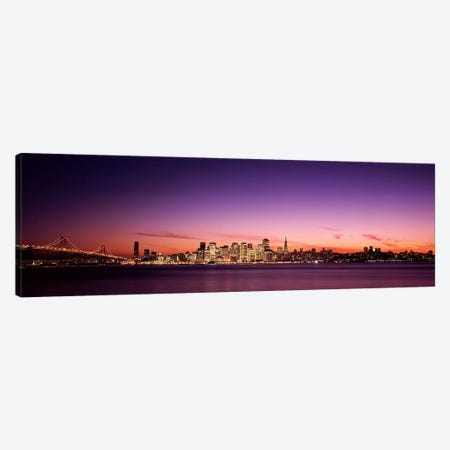 Suspension bridge with city skyline at dusk, Bay Bridge, San Francisco Bay, San Francisco, California, USA Canvas Print #PIM7595} by Panoramic Images Canvas Artwork