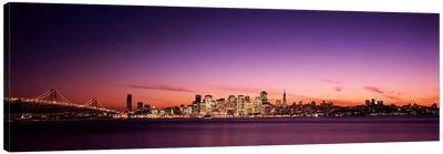 Suspension bridge with city skyline at dusk, Bay Bridge, San Francisco Bay, San Francisco, California, USA Canvas Print #PIM7595