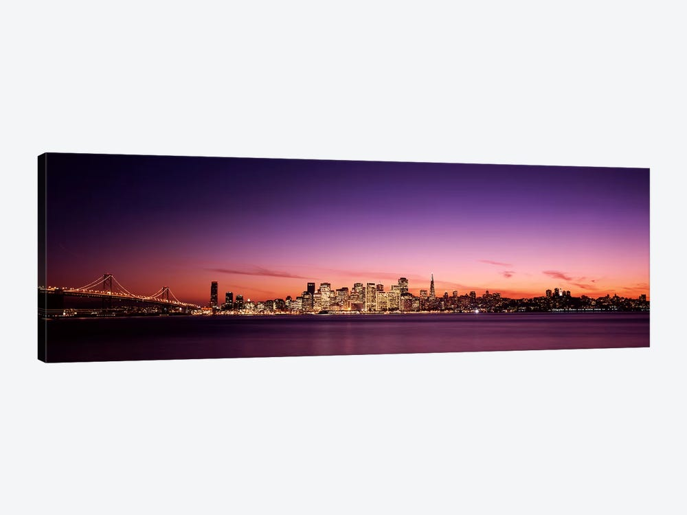 Suspension bridge with city skyline at dusk, Bay Bridge, San Francisco Bay, San Francisco, California, USA 1-piece Canvas Artwork