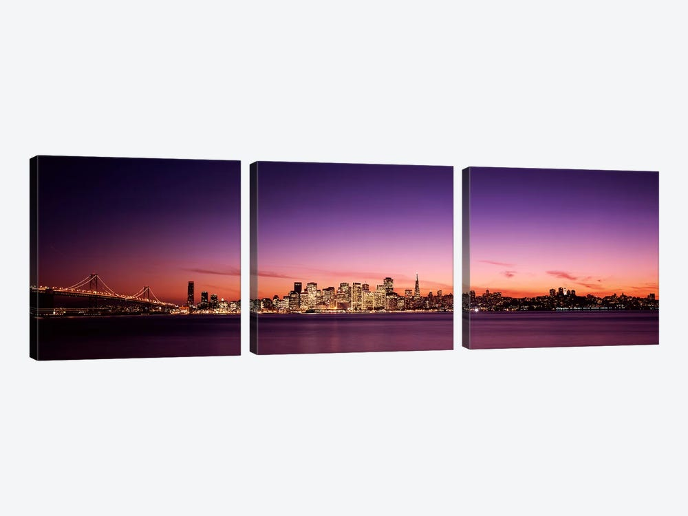 Suspension bridge with city skyline at dusk, Bay Bridge, San Francisco Bay, San Francisco, California, USA by Panoramic Images 3-piece Canvas Artwork