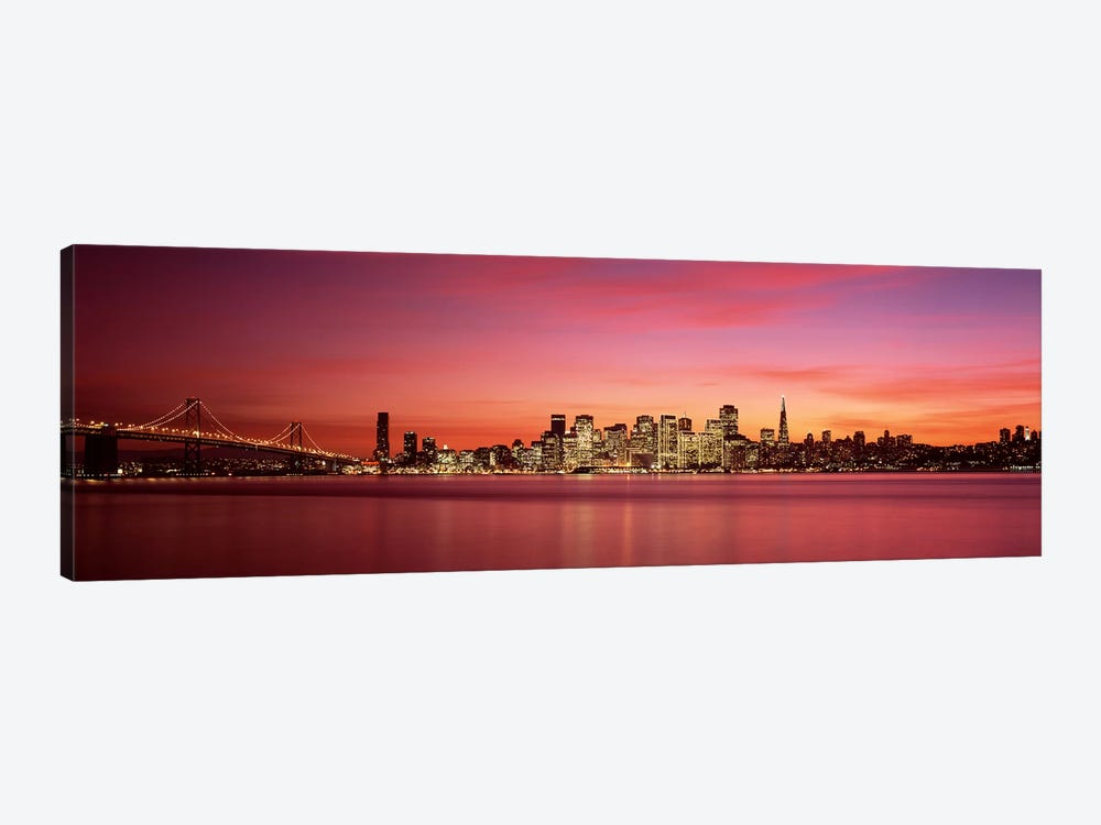 Suspension bridge with city skyline at duskBay Bridge, San Francisco Bay, San Francisco, California, USA 1-piece Canvas Art Print