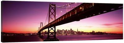 Bridge across a bay with city skyline in the background, Bay Bridge, San Francisco Bay, San Francisco, California, USA Canvas Print #PIM7597
