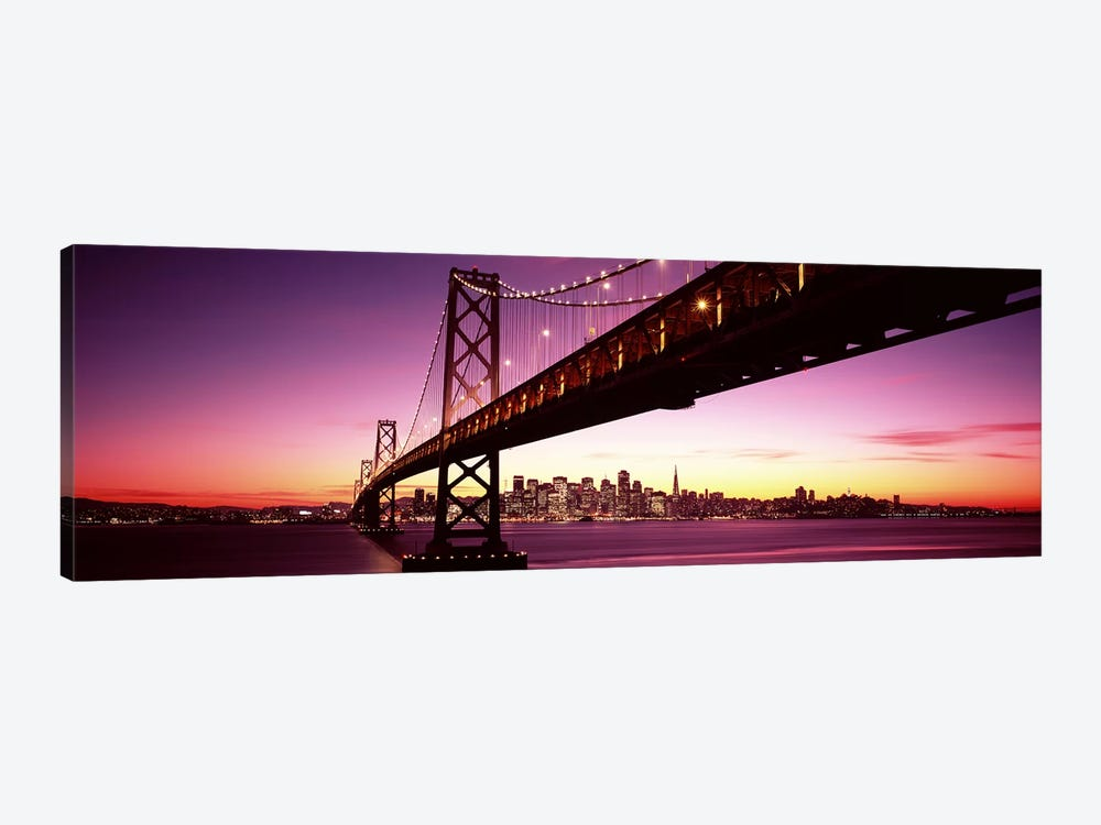 Bridge across a bay with city skyline in the background, Bay Bridge, San Francisco Bay, San Francisco, California, USA by Panoramic Images 1-piece Canvas Wall Art