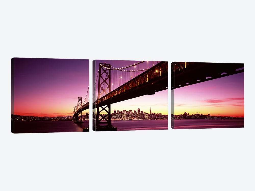Bridge across a bay with city skyline in the background, Bay Bridge, San Francisco Bay, San Francisco, California, USA by Panoramic Images 3-piece Canvas Wall Art