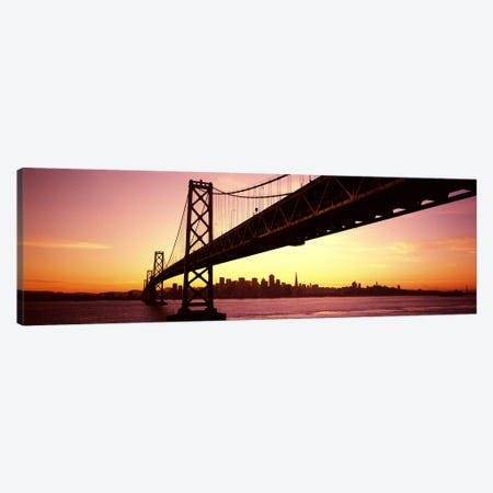 Bridge across a bay with city skyline in the backgroundBay Bridge, San Francisco Bay, San Francisco, California, USA Canvas Print #PIM7598} by Panoramic Images Art Print