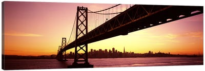 Bridge across a bay with city skyline in the backgroundBay Bridge, San Francisco Bay, San Francisco, California, USA Canvas Art Print