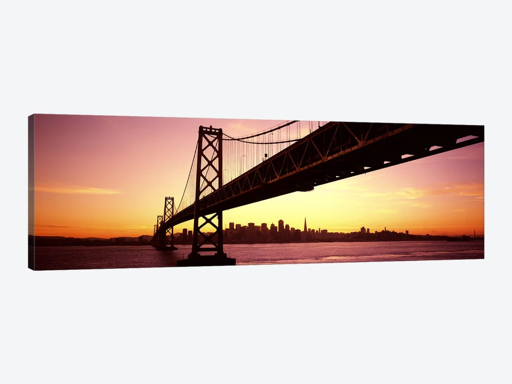 Bridge across a bay with city skyline in the backgroundBay Bridge, San Francisco Bay, San Francisco, California, USA by Panoramic Images 1-piece Art Print