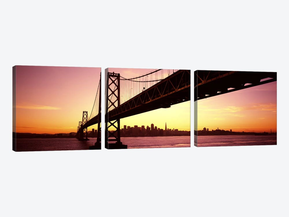 Bridge across a bay with city skyline in the backgroundBay Bridge, San Francisco Bay, San Francisco, California, USA by Panoramic Images 3-piece Canvas Print