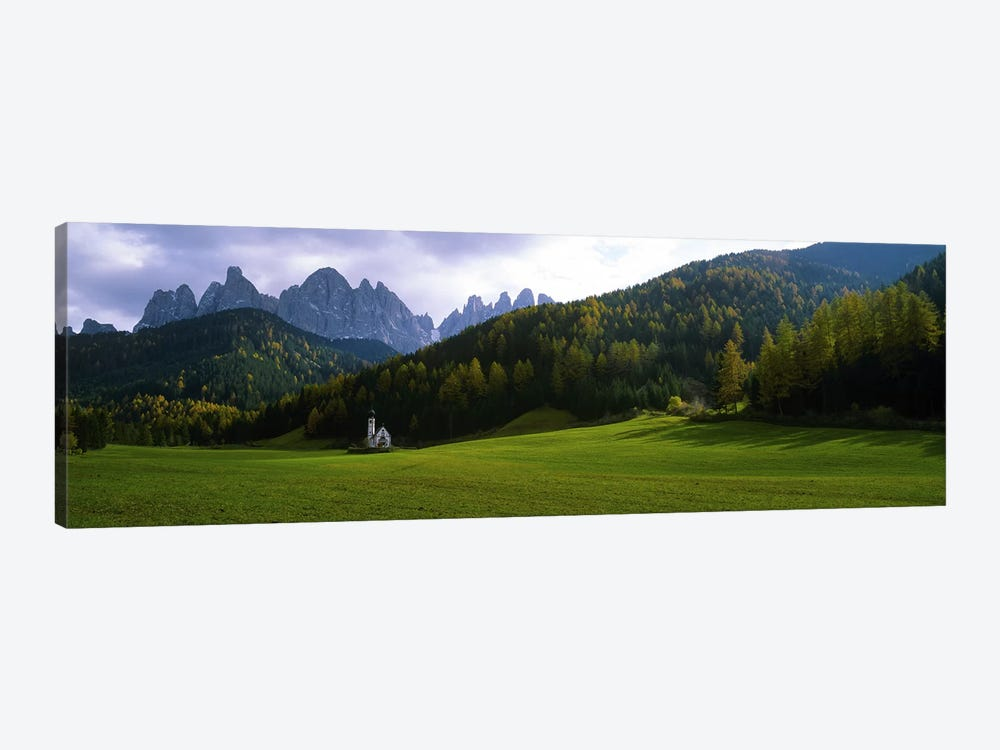 View Of St. John Of Nepomuk In Ranui With The Dolomites' Geisler Group In The Background, Val di Funes, South Tyrol, Italy by Panoramic Images 1-piece Art Print