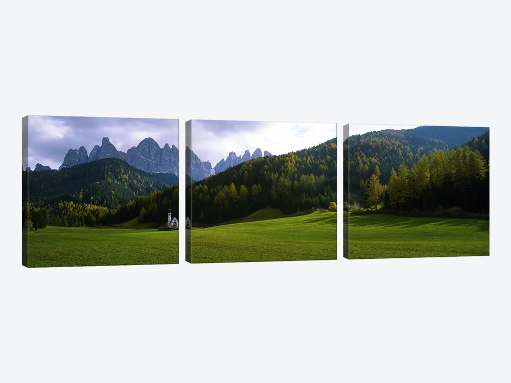View Of St. John Of Nepomuk In Ranui With The Dolomites' Geisler Group In The Background, Val di Funes, South Tyrol, Italy by Panoramic Images 3-piece Canvas Art Print