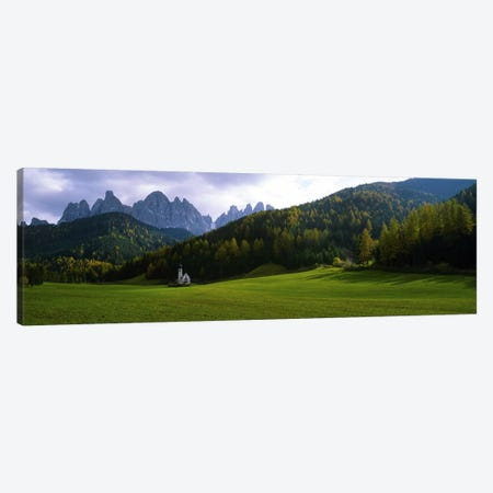 View Of St. John Of Nepomuk In Ranui With The Dolomites' Geisler Group In The Background, Val di Funes, South Tyrol, Italy Canvas Print #PIM7601} by Panoramic Images Art Print