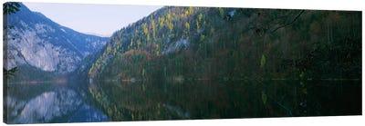Lake in front of mountainsLake Toplitz, Salzkammergut, Austria Canvas Print #PIM7604
