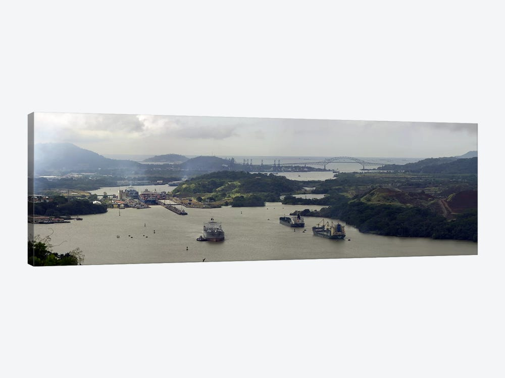 Aerial View Of The Panama Canal Featuring The Miraflores Locks And Bridge Of Americas by Panoramic Images 1-piece Art Print