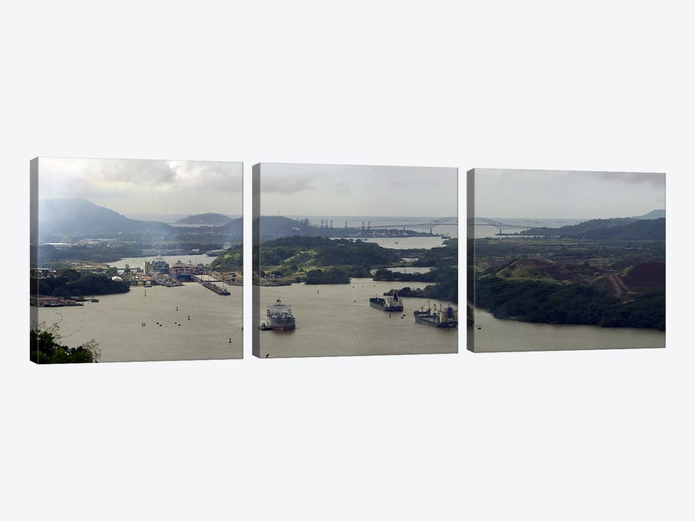 Aerial View Of The Panama Canal Featuring The Miraflores Locks And Bridge Of Americas by Panoramic Images 3-piece Art Print