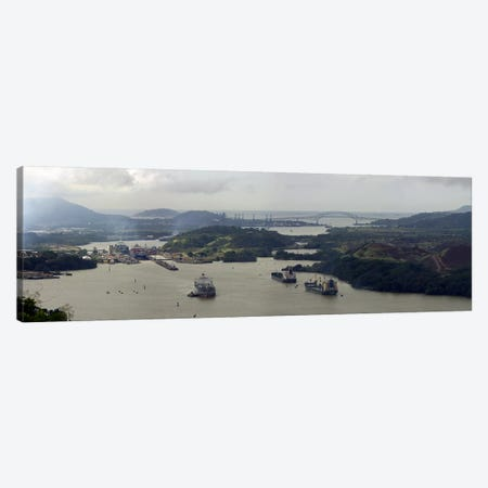 Aerial View Of The Panama Canal Featuring The Miraflores Locks And Bridge Of Americas 3-Piece Canvas #PIM7612} by Panoramic Images Canvas Art