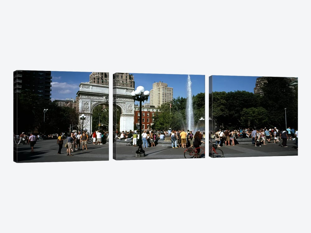 Tourists at a park, Washington Square Arch, Washington Square Park, Manhattan, New York City, New York State, USA by Panoramic Images 3-piece Canvas Print