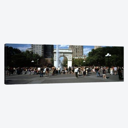 Tourists at a parkWashington Square Arch, Washington Square Park, Manhattan, New York City, New York State, USA Canvas Print #PIM7639} by Panoramic Images Canvas Art