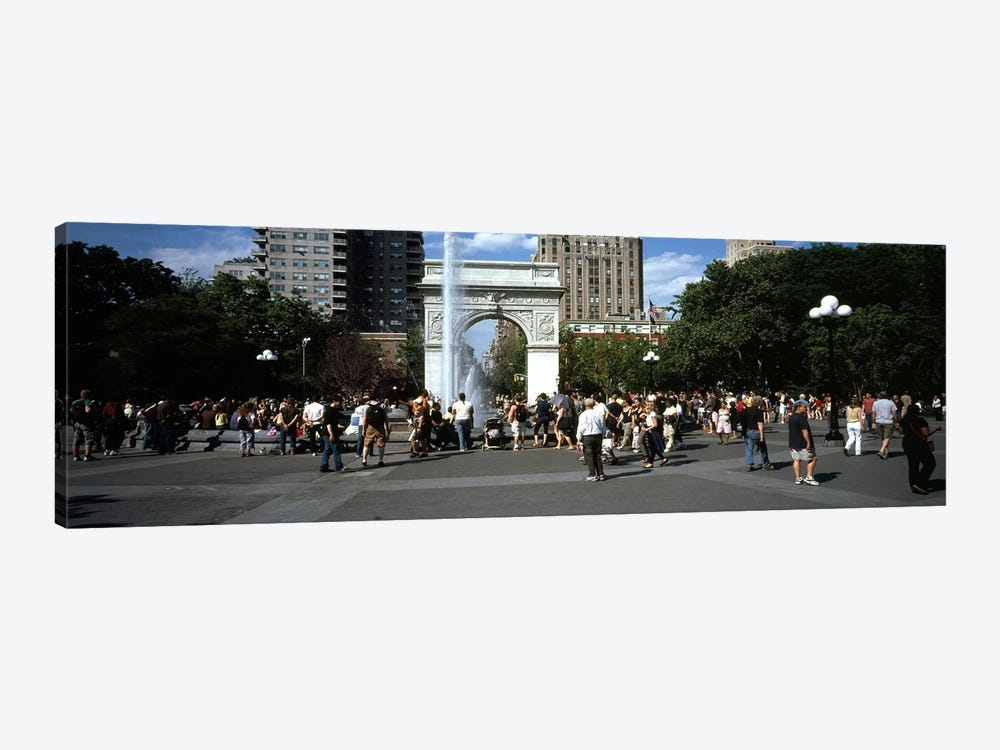 Tourists at a parkWashington Square Arch, Washington Square Park, Manhattan, New York City, New York State, USA by Panoramic Images 1-piece Canvas Art