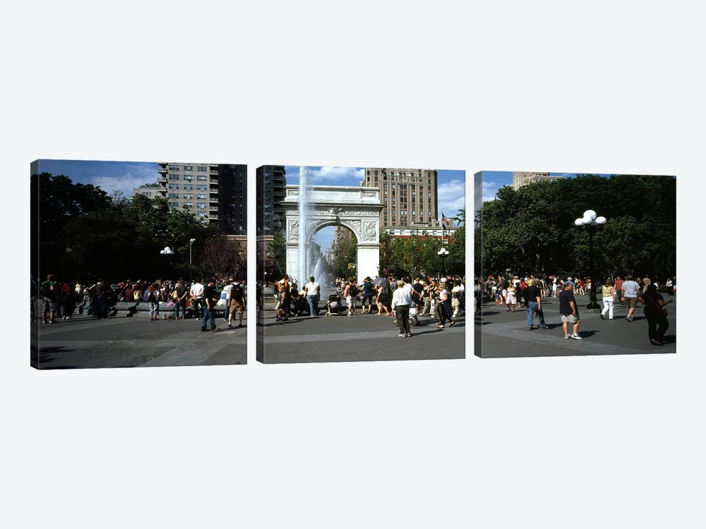 Tourists at a parkWashington Square Arch, Washington Square Park, Manhattan, New York City, New York State, USA by Panoramic Images 3-piece Canvas Art