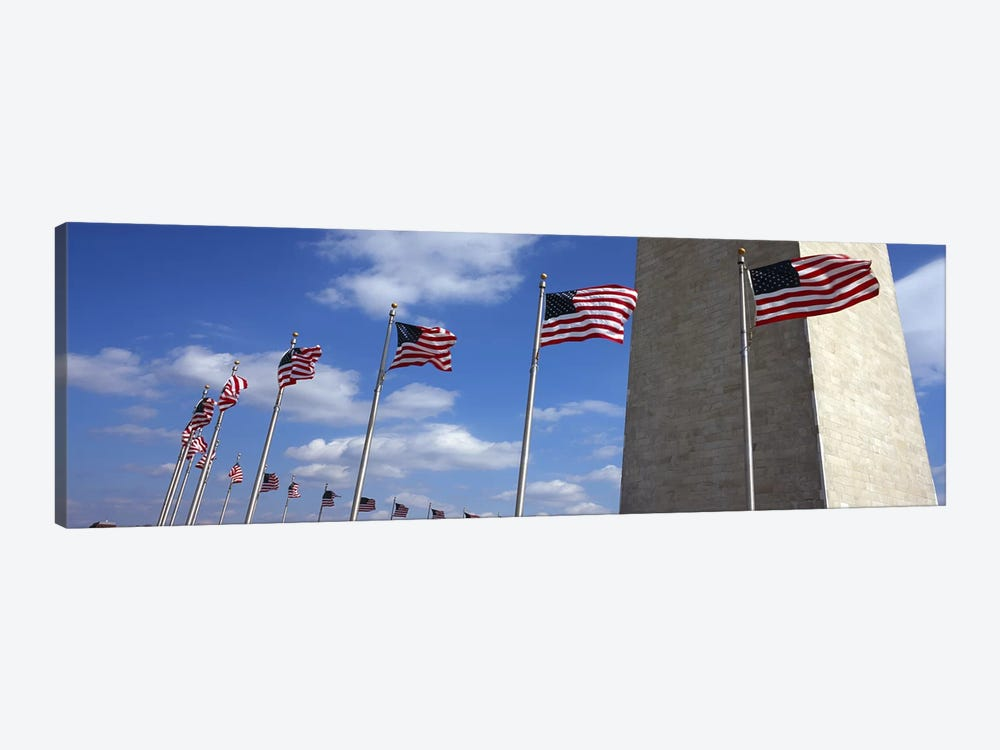 American Flags Flapping In The Wind, Washington Monument, National Mall, Washington, D.C., USA by Panoramic Images 1-piece Canvas Wall Art