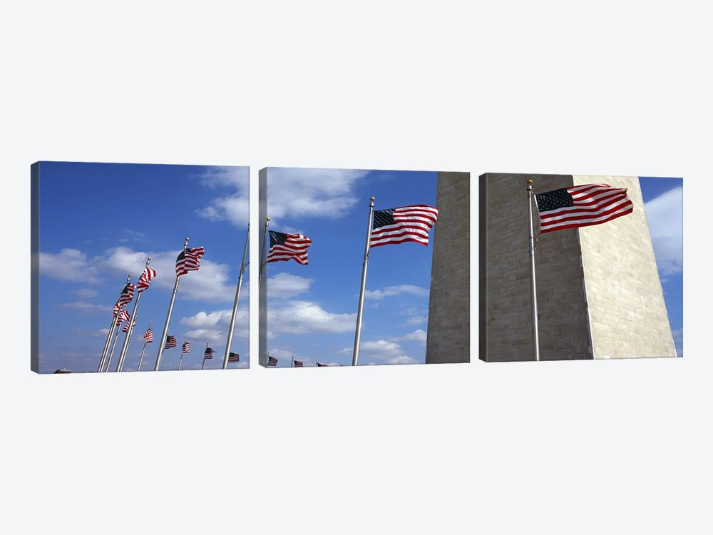 American Flags Flapping In The Wind, Washington Monument, National Mall, Washington, D.C., USA by Panoramic Images 3-piece Canvas Wall Art