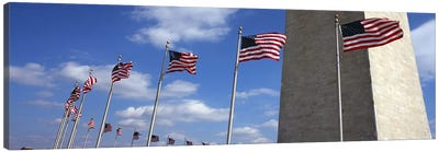 American Flags Flapping In The Wind, Washington Monument, National Mall, Washington, D.C., USA Canvas Art Print