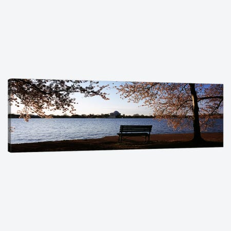 Park bench with a memorial in the background, Jefferson Memorial, Tidal Basin, Potomac River, Washington DC, USA Canvas Print #PIM7653} by Panoramic Images Canvas Wall Art