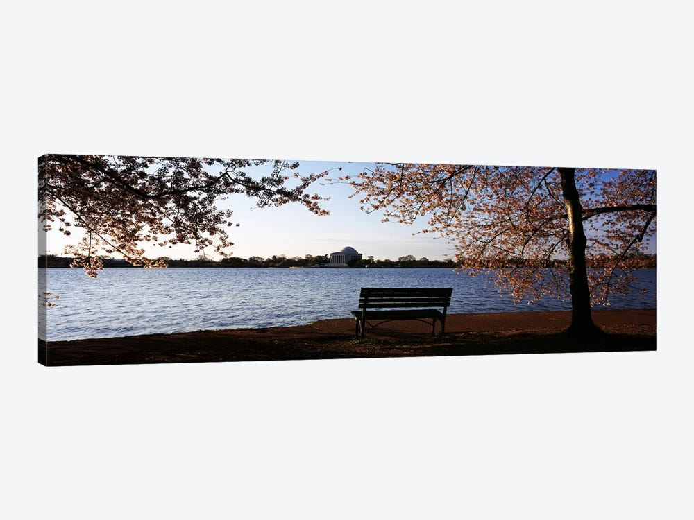 Park bench with a memorial in the background, Jefferson Memorial, Tidal Basin, Potomac River, Washington DC, USA by Panoramic Images 1-piece Canvas Wall Art