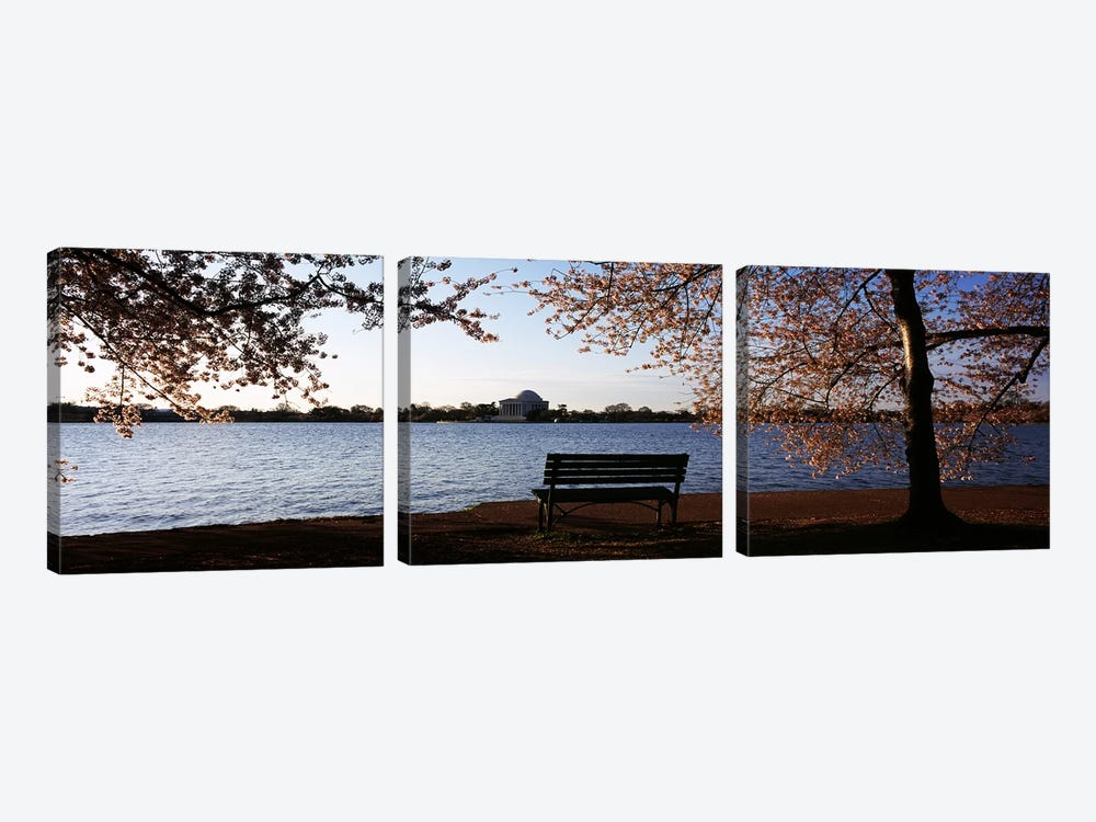 Park bench with a memorial in the background, Jefferson Memorial, Tidal Basin, Potomac River, Washington DC, USA by Panoramic Images 3-piece Canvas Art