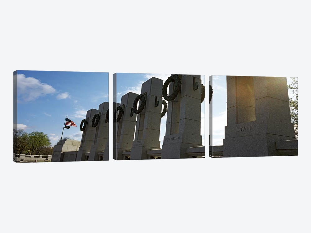 Colonnade in a war memorial, National World War II Memorial, Washington DC, USA by Panoramic Images 3-piece Art Print