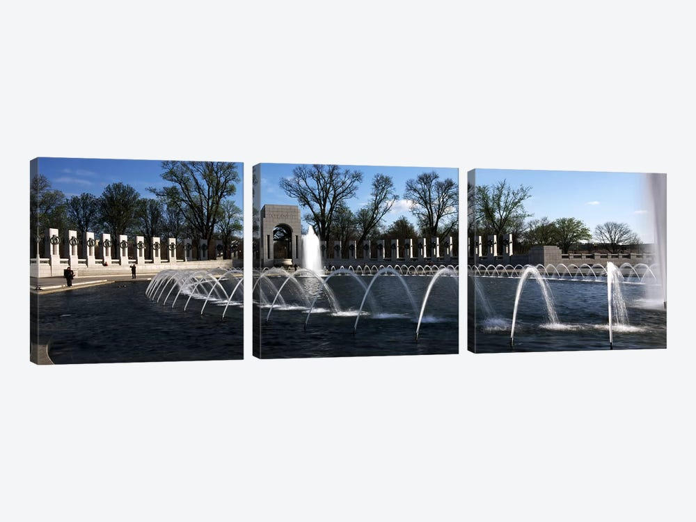 Fountains at a war memorial, National World War II Memorial, Washington DC, USA by Panoramic Images 3-piece Canvas Wall Art