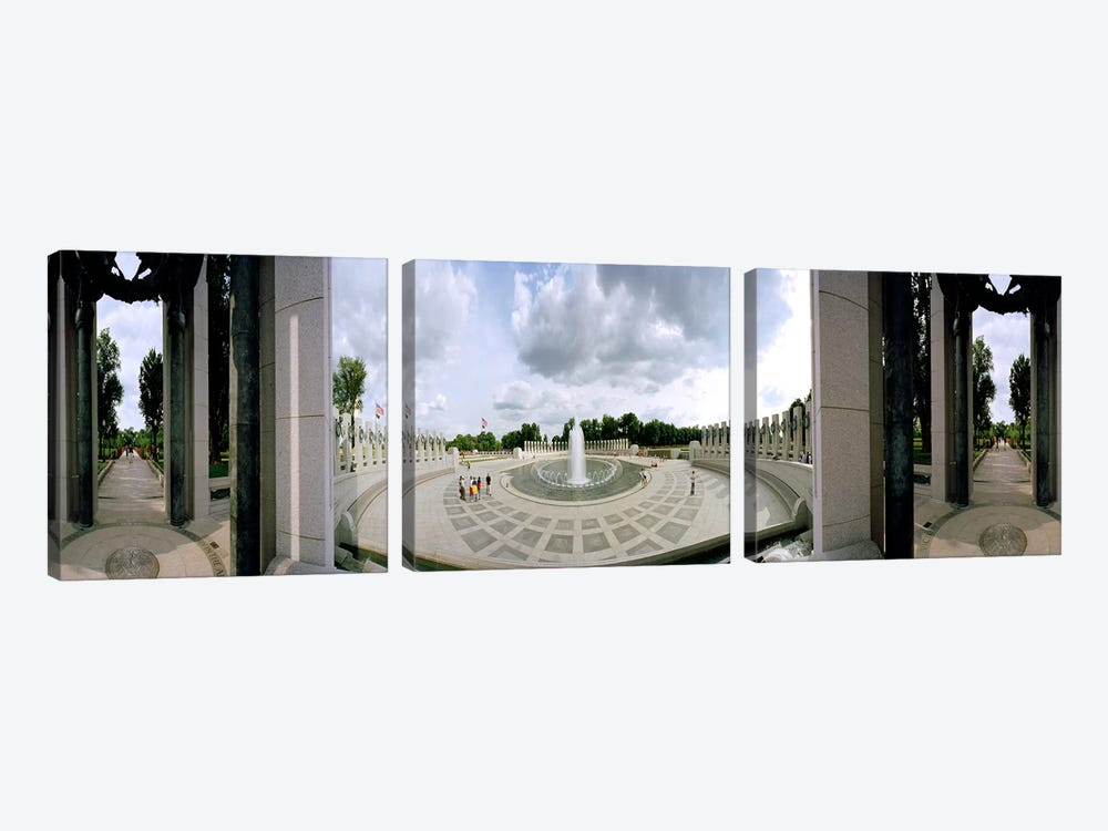 360 degree view of a war memorial, National World War II Memorial, Washington DC, USA by Panoramic Images 3-piece Canvas Wall Art