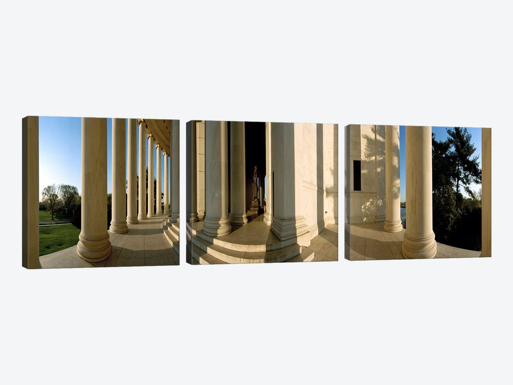 Columns of a memorial, Jefferson Memorial, Washington DC, USA by Panoramic Images 3-piece Canvas Wall Art