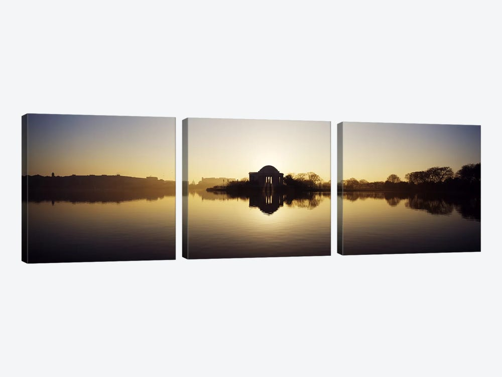 Memorial at the waterfront, Jefferson Memorial, Tidal Basin, Potomac River, Washington DC, USA by Panoramic Images 3-piece Canvas Print