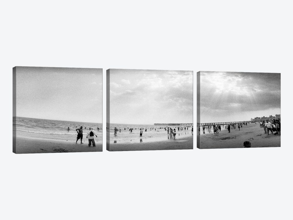 Tourists on the beach, Coney Island, Brooklyn, New York City, New York State, USA by Panoramic Images 3-piece Art Print