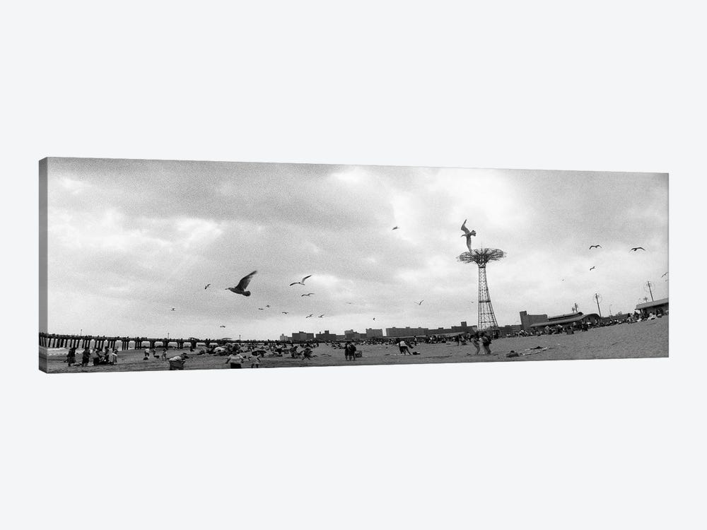 Tourists on the beach, Coney Island, Brooklyn, New York City, New York State, USA #2 by Panoramic Images 1-piece Canvas Art Print